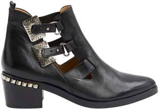 Toga Pulla Black Leather Ankle boots