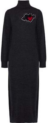 Markus Lupfer Nora Intarsia Merino Wool Turtleneck Midi Dress