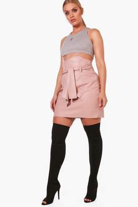 boohoo Plus Paper Bag Waisted Pu Mini Skirt