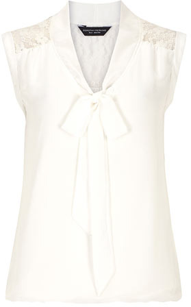 Dorothy Perkins Ivory lace insert pussybow shirt