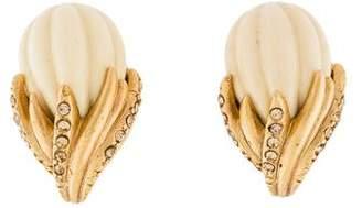 Oscar de la Renta Resin & Crystal Floral Clip-On Earrings