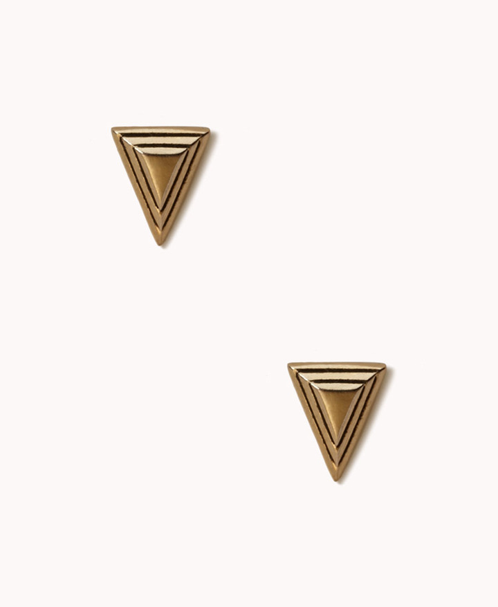 Forever 21 Etched Triangle Studs