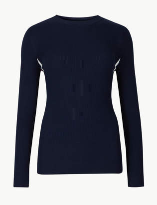 Marks and Spencer PETITE Ribbed Round Neck Jumper
