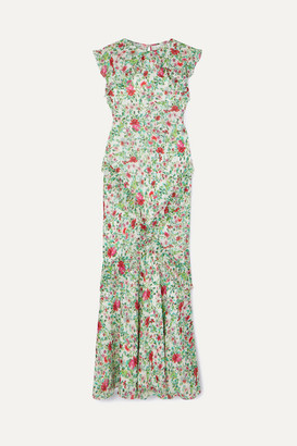 Saloni Tamara Ruffled Floral-print Silk-georgette Maxi Dress - Green