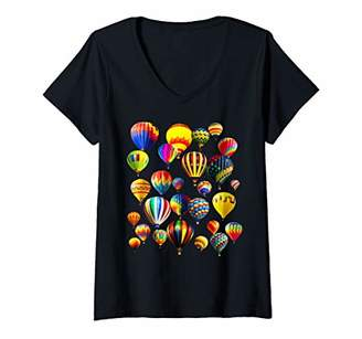 Womens Cute Hot Air Balloon Ride Vacation Aviation Balloons V-Neck T-Shirt
