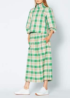 Tibi Hani Plaid Smocked Waistband Skirt