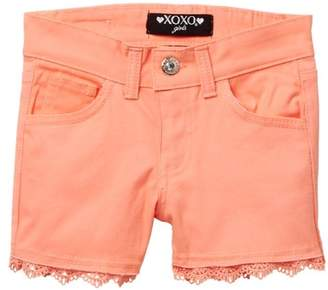 XOXO Crochet Trim Twill Shorts (Big Girls)