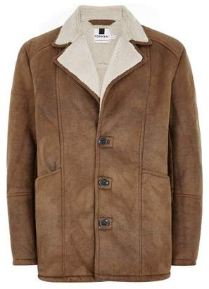 Topman Mens Brown Tan Faux Shearling Jacket