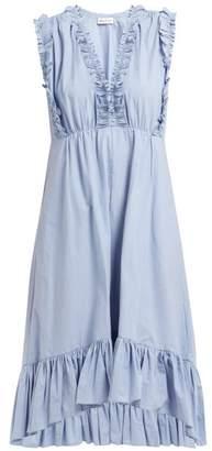 Masscob Sabinal Ruffled Cotton Midi Dress - Womens - Light Blue