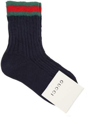 Gucci Cotton Knit Socks W/ Web Trim