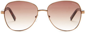 GUESS Women's Modified Aviator Sunglasses $125 thestylecure.com