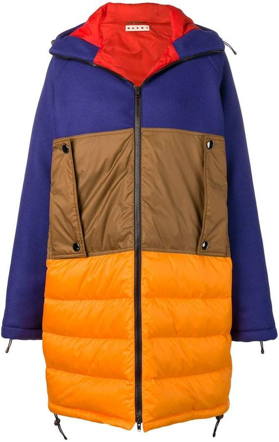 colour block padded coat