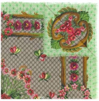 Gucci GG Supreme floral print scarf