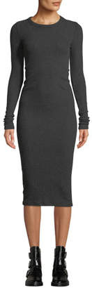 Enza Costa Ribbed Keyhole-Back Long-Sleeve Midi Dress