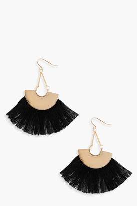 boohoo Plate Fringed Tassel Earrings