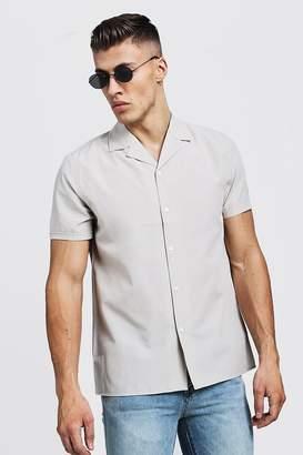 boohoo Revere Collar Short Sleeve Shirt