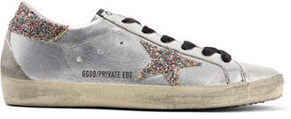 Golden Goose Superstar Glittered Distressed Leather Sneakers - Silver