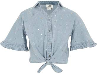 River Island Girls denim sequin tie front shirt