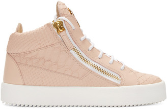Giuseppe Zanotti Pink Croc-Embossed Mid-Top London Sneakers $750 thestylecure.com