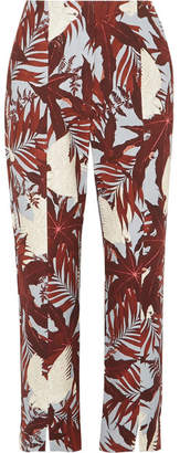 Erdem Syrah Cropped Printed Cotton-canvas Straight-leg Pants - Burgundy