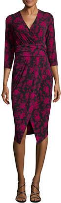 Rachel Roy Printed Matte Ruched Waist Dress