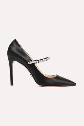 Prada Crystal-embellished Satin Pumps - Black
