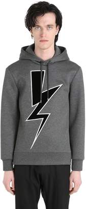 Neil Barrett Velvet Bolt Hooded Neoprene Sweatshirt