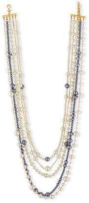 "Kenneth Jay Lane Multi-Strand Pearly Bead Necklace, White/Gray, 32""L"