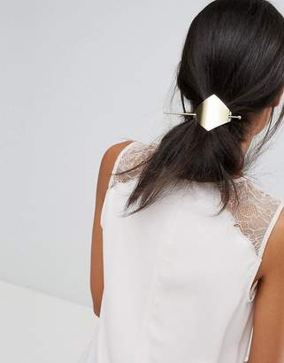 Orelia Brushed Diamond Thread Through Hair Clip
