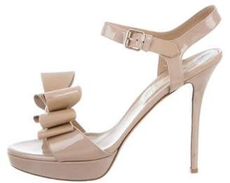 Valentino Patent Leather Bow-Accented Sandals
