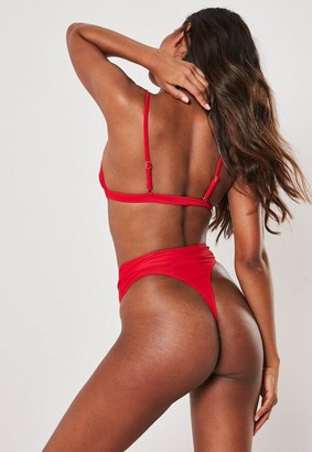 Missguided Red Mix And Match High Waisted Thong Bikini Bottoms