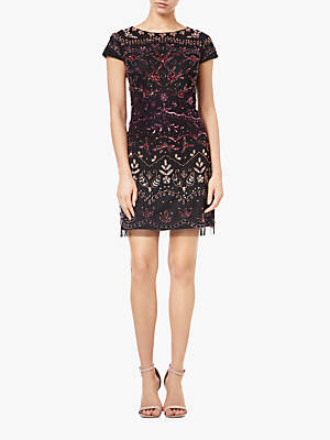 Adrianna Papell Floral Beaded Mini Dress, Black/Multi