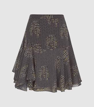 Reiss Muriel - Printed Mini Skirt in Navy