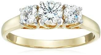 Swarovski 10K Gold 3 Stone Ring set with Round Cut Zirconia (1 cttw)