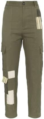 78 Stitches Green combat trousers with patchwork