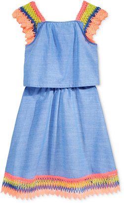 Tommy Hilfiger Crochet-Sleeve Denim Dress, Big Girls (7-16) $55.50 thestylecure.com