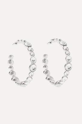 Kenneth Jay Lane Silver-tone Crystal Hoop Earrings