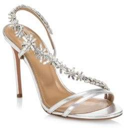Aquazzura Chateau Crystal-Embellished Leather Sandals