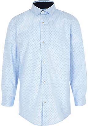 River Island Boys light blue polka dot print shirt