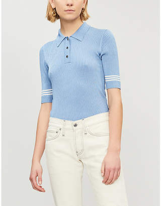 Sandro Striped-sleeve knitted polo shirt