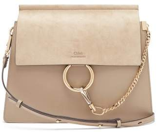 Chloé Faye Medium Leather And Suede Shoulder Bag - Womens - Grey