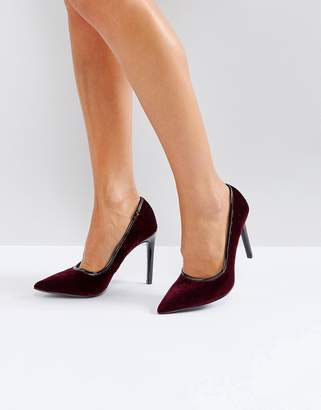 Ivyrevel Heeled Velvet Pointed Court Shoe With PU Trim
