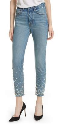 GRLFRND Karolina Faux Pearl & Crystal Embellished Rigid High Waist Skinny Jeans
