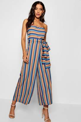 boohoo Strapless Belted Wide Leg Jumpsuit
