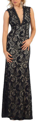 Asstd National Brand Sleeveless Lace Evening Gown With Cutout Back