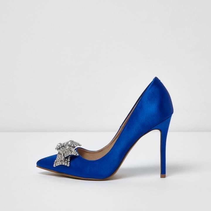 River Island Womens Blue satin diamante bow court shoes