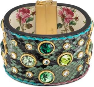 Gucci Python crystals cuff bracelet