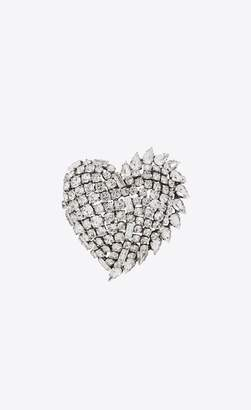 Saint Laurent Smoking Heart Brooch In Silver Brass And Clear Crystal