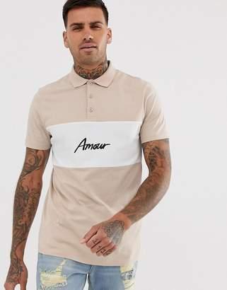 Asos Design DESIGN colour block polo with Amour print