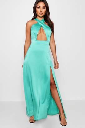 boohoo Jen Satin Cross Front Thigh Split Maxi Dress